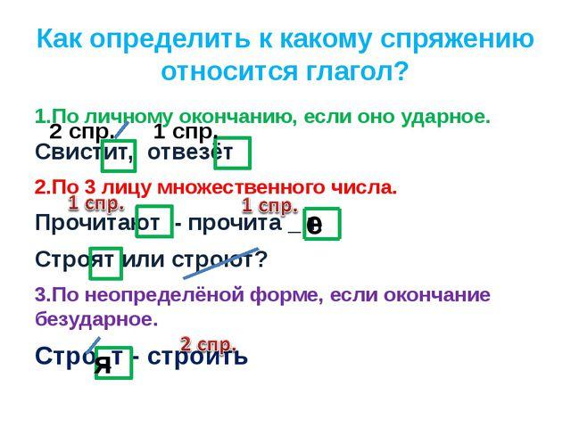 Как определить к какому спряжению относится глагол? 1.По личному окончанию, е...