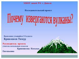 МБОУ лицей №4 г. Данков Исследовательский проект Выполнил учащийся 3 б класса