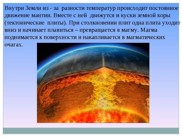 Внутри Земли из - за разности температур происходит постоянное движение манти...
