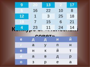 Конкурс 3: «Полезный совет» 9 20 13 2 17 5 16 22 10 8 12 1 3 25 18 19 7 15 6