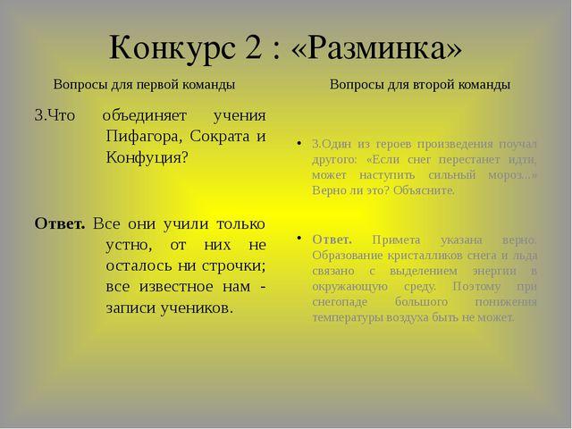 Конкурс 2 : «Разминка» 3.Что объединяет учения Пифагора, Сократа и Конфуция?...
