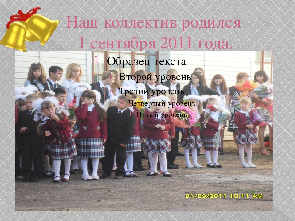 Наш коллектив родился 1 сентября 2011 года.