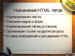 Назначение HTML-тегов Форматирования текста; Описания кадров и форм; Форматир