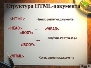 Структура HTML-документа …. …. Начало разметки документа содержание стр