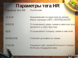 Параметры тега HR 38
