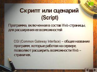 Скрипт или сценарий (Script) Программа, включенная в состав Web-страницы, для