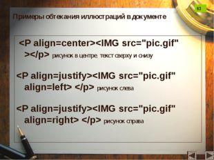 рисунок в центре, текст сверху и снизу   рисунок слева   рисунок справа При