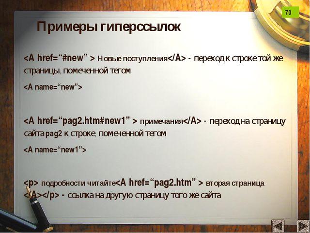 Примеры гиперссылок  Новые поступления - переход к строке той же страницы, по...