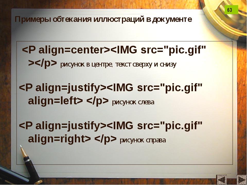 рисунок в центре, текст сверху и снизу   рисунок слева   рисунок справа При...