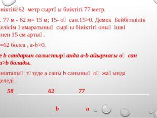 Ішкі биіктігі 62 метр сыртқы биіктігі 77 метр. 77 > 62. 77 м - 62 м= 15 м; 1