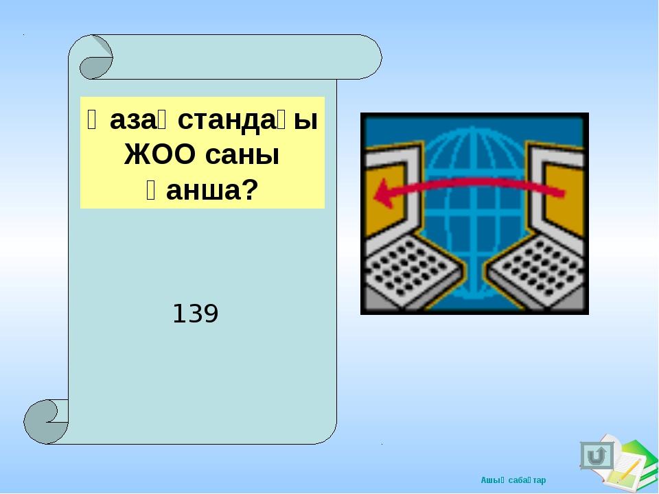Қазақстандағы ЖОО саны қанша? 139 Ашық сабақтар