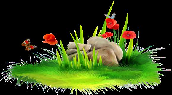 Лужайка и цветы на прозрачном фоне - клипарт