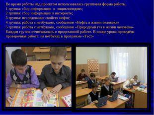 Во время работы над проектом использовалась групповая форма работы. 1 группа