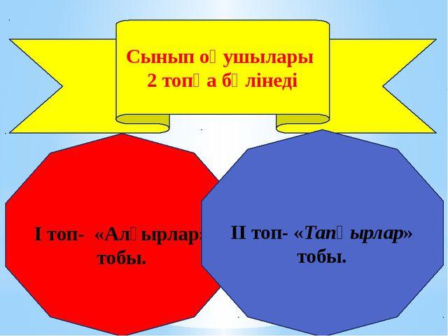 Сынып оқушылары 2 топқа бөлінеді I топ- «Алғырлар» тобы. II топ- «Тапқырлар»...