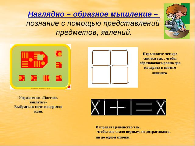 Наглядно – образное мышление – познание с помощью представлений предметов, яв...