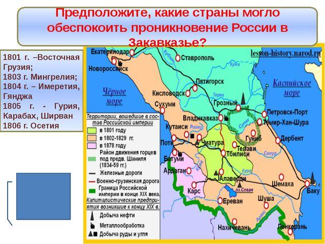 Россия на Кавказе 1801 г. –Восточная Грузия; 1803 г. Мингрелия; 1804 г. – Име...