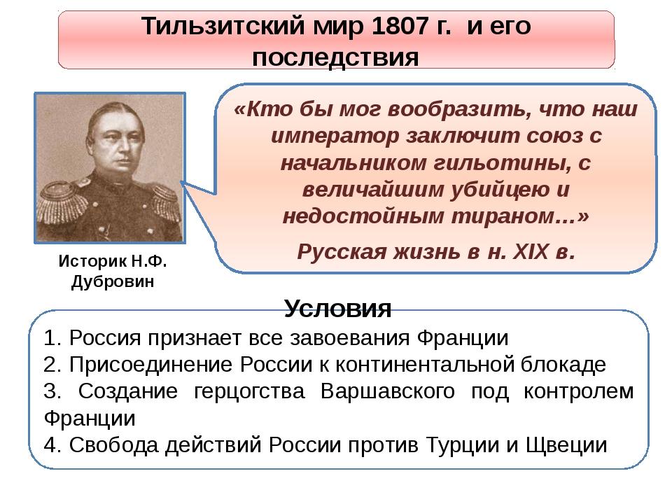 Тильзитский мир 1807 г. и его последствия Условия 1. Россия признает все заво...