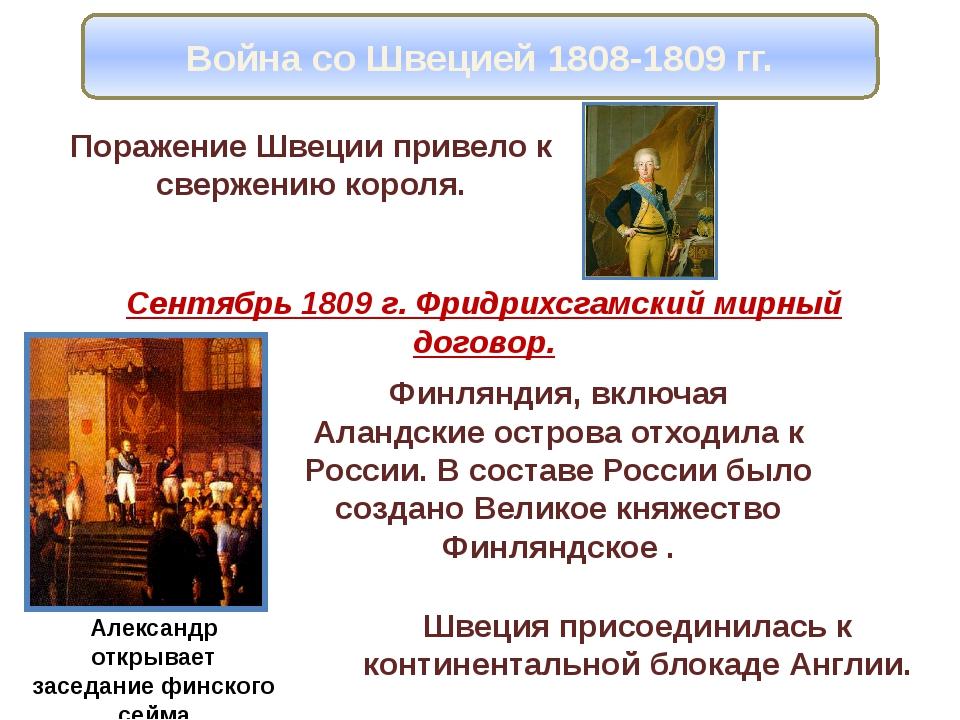 Война со Швецией 1808-1809 гг. Поражение Швеции привело к свержению короля. С...