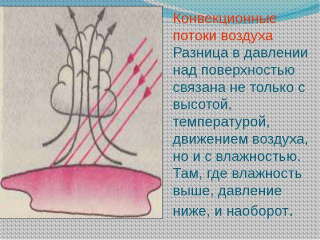 Конвекционные потоки воздуха Разница в давлении над поверхностью связана не т...