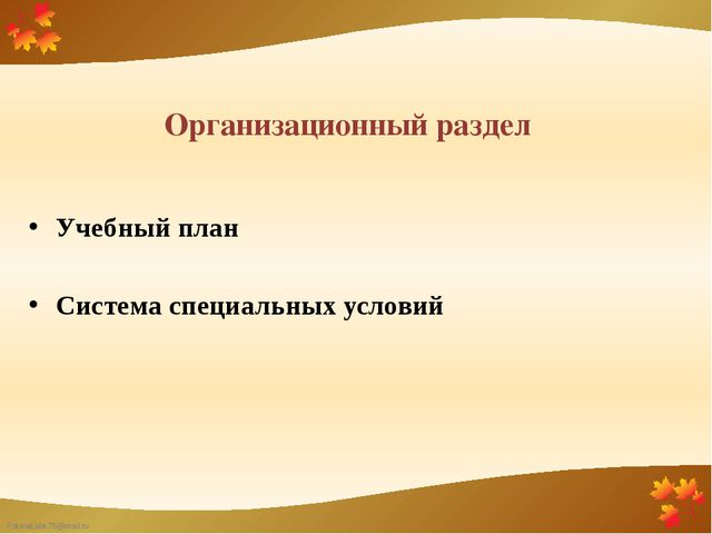 Организационный раздел Учебный план Система специальных условий FokinaLida.75...
