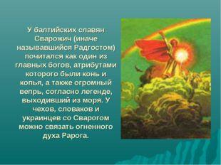 У балтийских славян Сварожич (иначе называвшийся Радгостом) почитался как оди