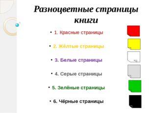 Разноцветные страницы книги 1. Красные страницы 2. Жёлтые страницы 3. Белые с