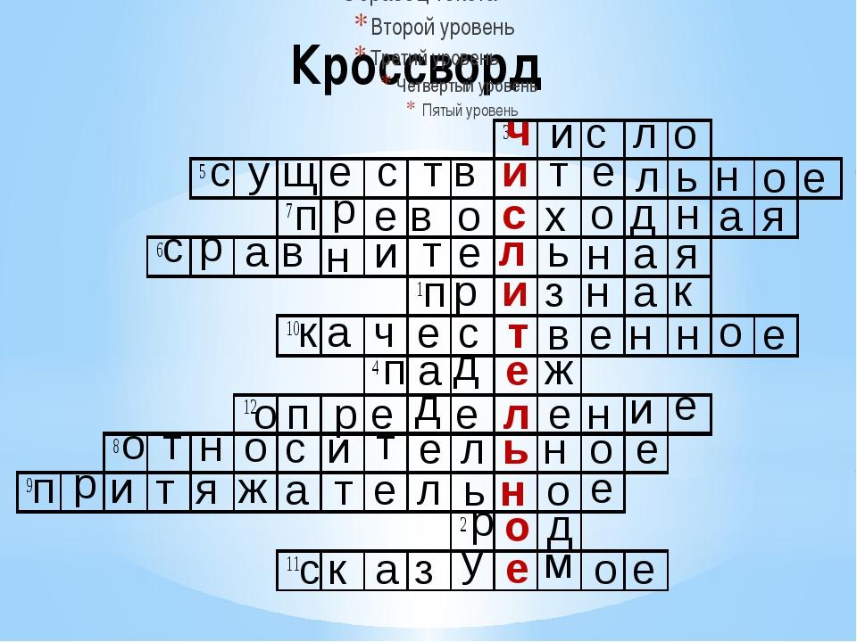Кроссворд п р и з н а к ч и с л о с у щ е с т в и т е л ь н о е п р е в о с х...