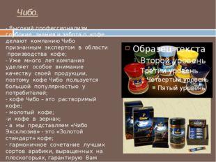 Чибо. - Высокий профессионализм, глубокие знания и забота о кофе делают компа