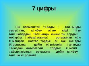 7 цифры Үш элементтен тұрады : толқынды сызықтан, көлбеу және кіші түзу таяқш