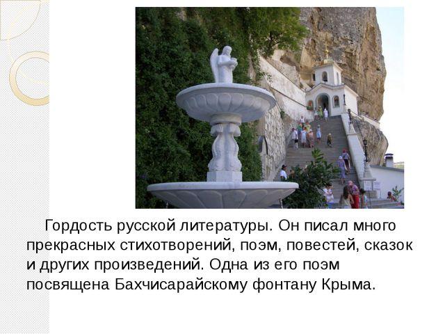 Гордость русской литературы. Он писал много прекрасных стихотворений, поэм,...