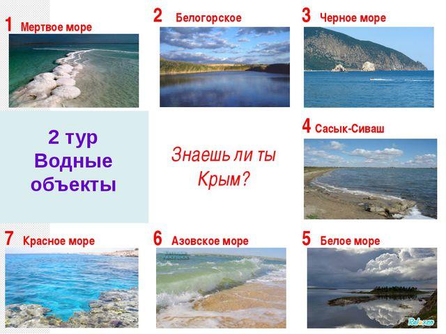2 тур Водные объекты 1Мертвое море 2Белогорское 3Черное море Знаешь ли ты Кр...