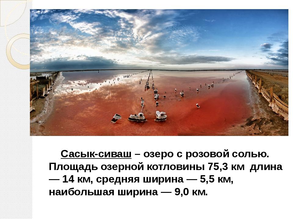 Сасык-сиваш – озеро с розовой солью. Площадь озерной котловины 75,3 км длина...