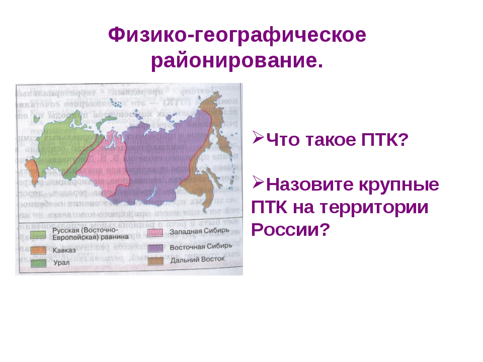 Физико-географическое районирование. Что такое ПТК? Назовите крупные ПТК на т...