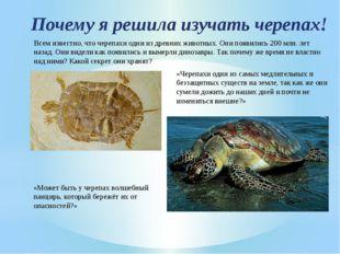 Почему я решила изучать черепах! Всем известно, что черепахи одни из древних