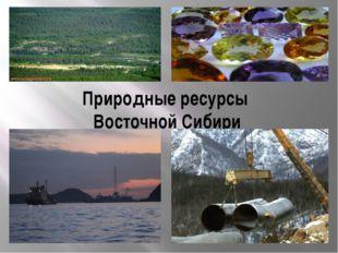 Природные ресурсы Восточной Сибири