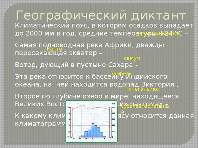 Географический диктант Климатический пояс, в котором осадков выпадает до 2000...