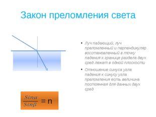 Закон преломления света Луч падающий, луч преломленный и перпендикуляр восста
