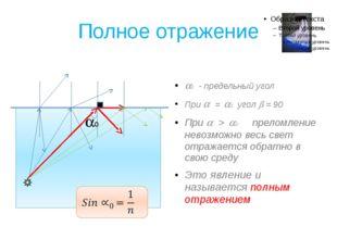 Полное отражение 0 - предельный угол При  = 0 угол  = 90 При  > 0 прело