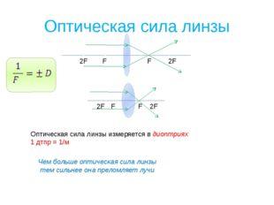 Оптическая сила линзы F F 2F 2F Оптическая сила линзы измеряется в диоптриях