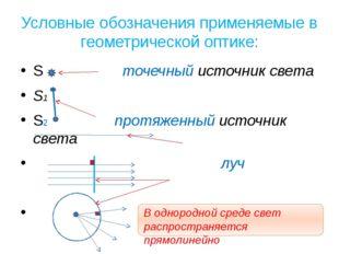Условные обозначения применяемые в геометрической оптике: S точечный источник