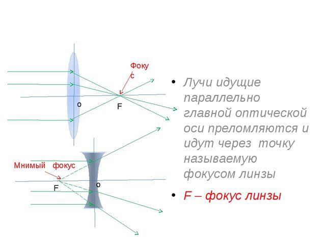Лучи идущие параллельно главной оптической оси преломляются и идут через точ...