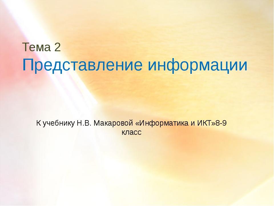 Тема 2 Представление информации К учебнику Н.В. Макаровой «Информатика и ИКТ»...