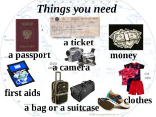 a ticket a passport a bag or a suitcase first aids clothes money a camera Thi