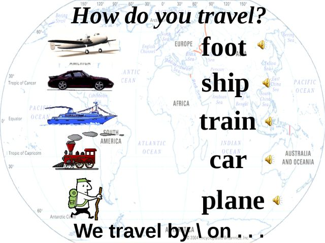 foot ship train plane How do you travel? car We travel by \ on . . .