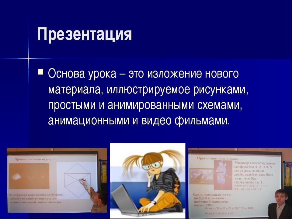 Презентация Основа урока – это изложение нового материала, иллюстрируемое рис...