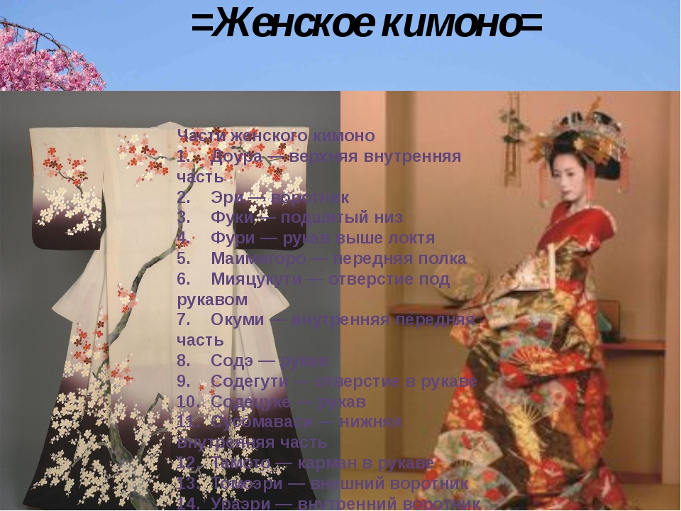 =Женское кимоно= Части женского кимоно 1.Доура — верхняя внутренняя часть 2....