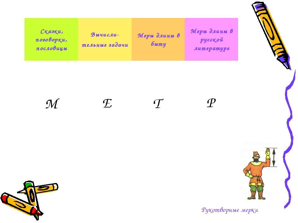 Рукотворные мерки М Е Т Р Сказки, поговорки, пословицыВычисли- тельные задач...