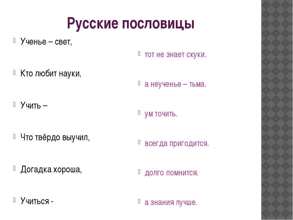 Русские пословицы Ученье – свет, Кто любит науки, Учить – Что твёрдо выучил,...