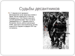 Судьбы десантников А. Г. Доронин после проверки в фильтрационном лагере продо