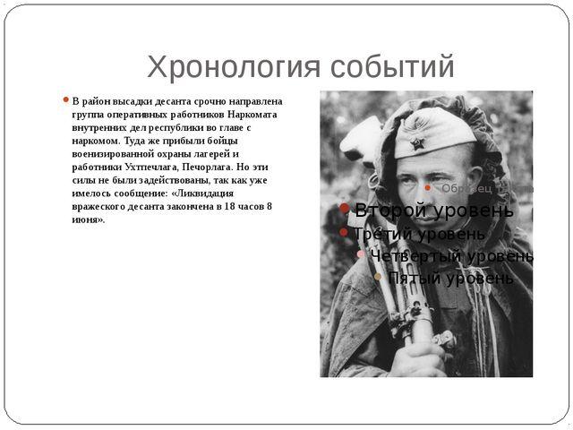 Хронология событий В район высадки десанта срочно направлена группа оперативн...